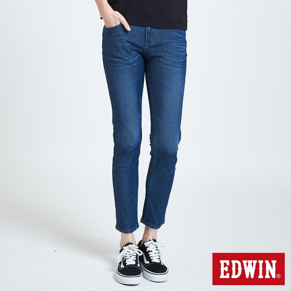 EDWIN JERSEYS PK 中腰煙管涼感 AB牛仔褲-女-中古藍