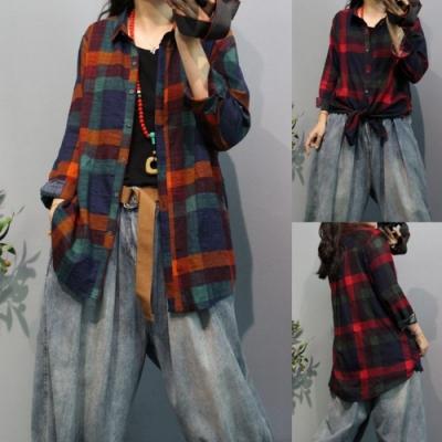 La Belleza彩色格子開釦棉麻薄款長版排釦襯衫外套