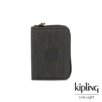 Kipling 復古質感丹寧黑短夾-MONEY LOVE