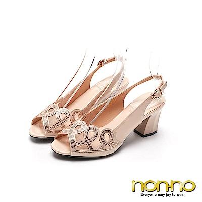 nonnon 高雅時尚 時尚亮眼粗跟涼鞋 金