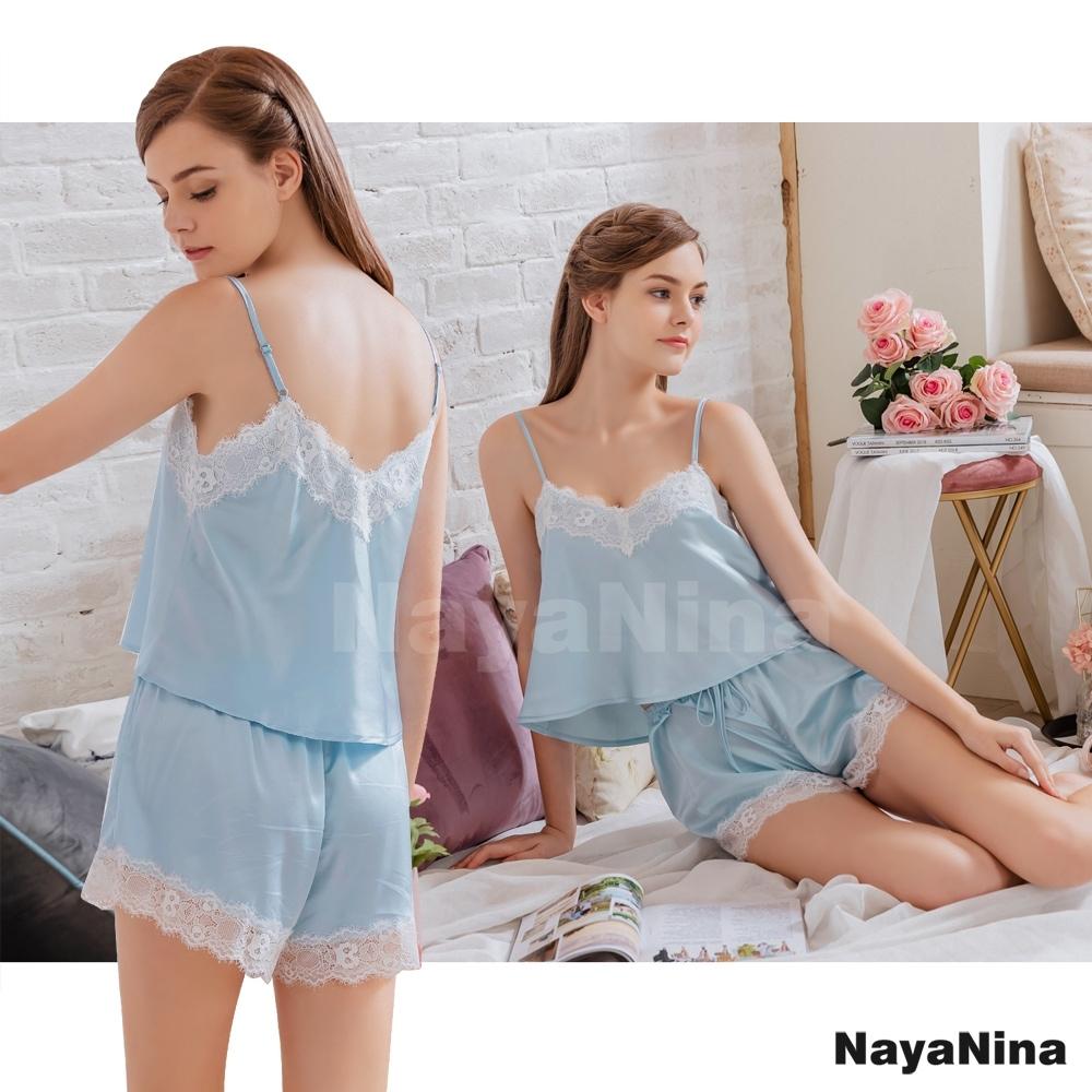 Naya Nina 公主藍蕾絲細肩衣短褲二件式套裝居家睡衣-藍F