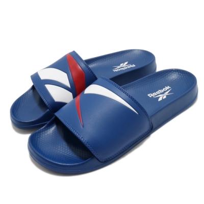 Reebok 涼拖鞋 Classic Slide 套腳 男女鞋 基本款 大logo 簡約 情侶穿搭 夏日 藍 白 FW5754