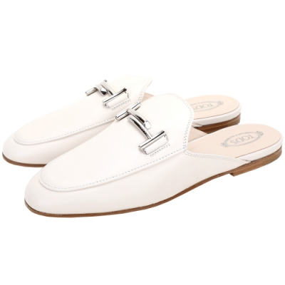 TOD'S Double T 金屬設計牛皮穆勒鞋(女鞋/象牙白)