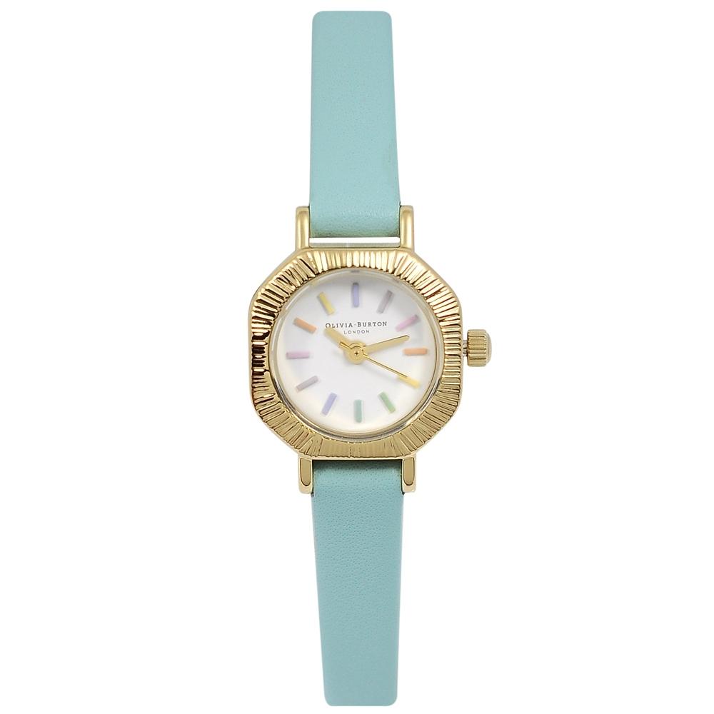 Olivia Burton 英倫復古手錶 彩虹 綠松石色皮革錶帶金色錶框20mm