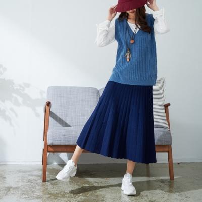 慢 生活 韓風下襬微透膚修身百褶針織長裙- 海軍藍/天空藍