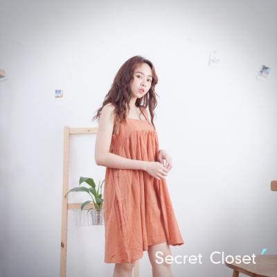 Secret Closet-純色棉麻細帶無袖上衣-橘色
