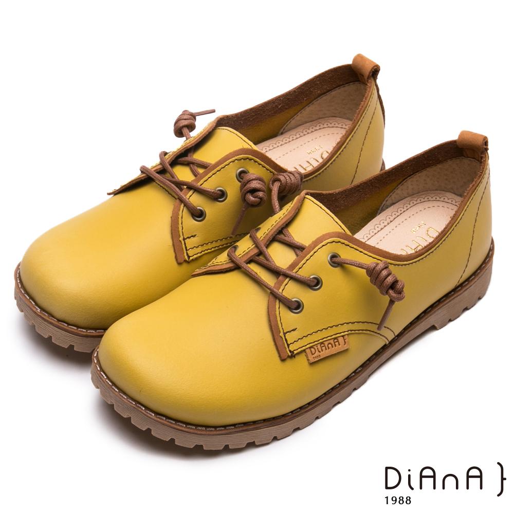 DIANA真皮綁帶工程休閒鞋-漫步雲端厚切焦糖美人-黃