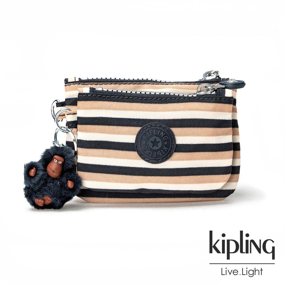 Kipling簡約條紋密橙零錢包(中)