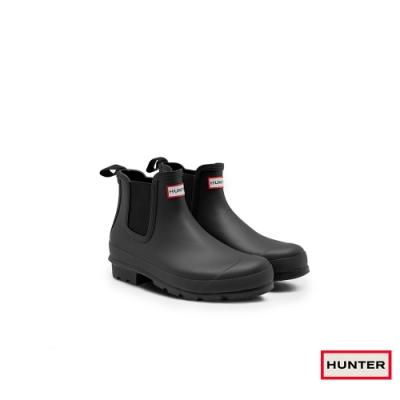 HUNTER - 男鞋-切爾西霧面踝靴 - 黑