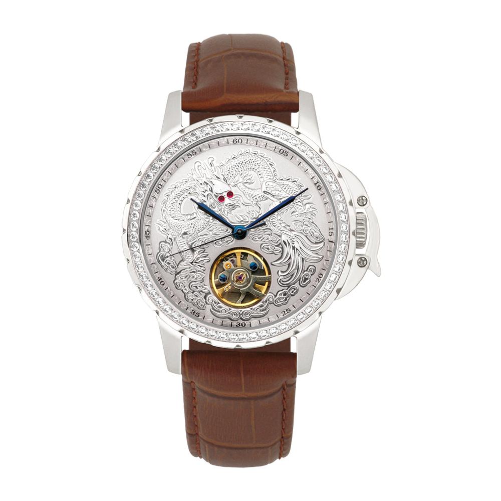 Manlike 曼莉萊克 豪華龍王限量機械錶 銀殻 銀面 咖啡色帶