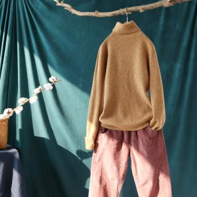 軟糯溫和素色拼接高領毛衣寬鬆針織內搭衫-設計所在