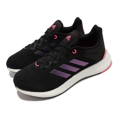 adidas 慢跑鞋 Pureboost 21 W 運動 女鞋 愛迪達 輕量 透氣 避震 路跑 健身 黑 紫 GY5111