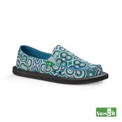SANUK 孔雀民俗圖騰印花懶人鞋-女款(藍綠色)