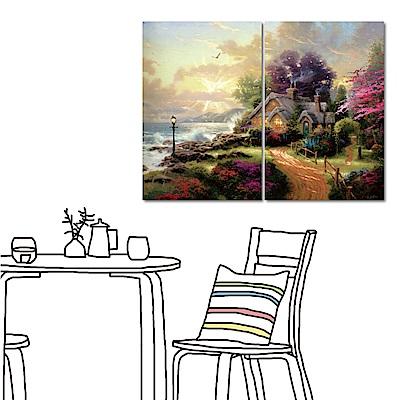 橙品油畫布 兩聯式直幅無框掛畫-山邊小屋40x60cm