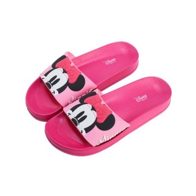 迪士尼親子鞋 米妮 造型圖案女段休閒拖鞋-桃