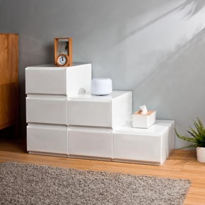 HOUSE 台灣製 純白無印風一層抽屜式收納箱 6入 - 2號小栗子