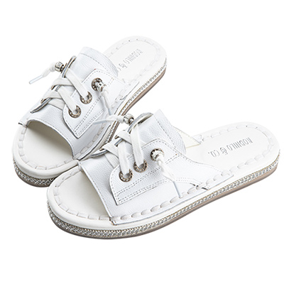 Robinlo 懶人街拍牛皮百搭拖鞋 白色