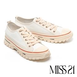 休閒鞋 MISS 21 復古玩味撞色異材質綁帶厚底休閒鞋-米白