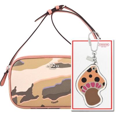COACH 迷彩粉色PVC雙層斜背包+粉橘色蘑菇造型皮革鑰匙圈