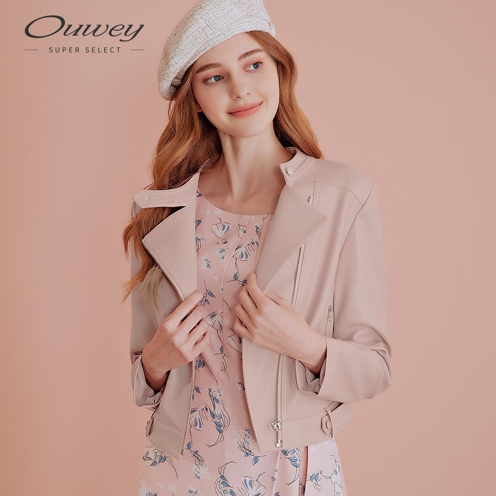 OUWEY歐薇 率性質感短版皮外套(粉)