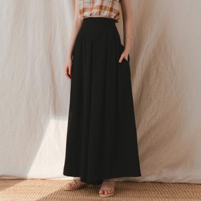 AIR SPACE LADY 3WAY輕柔褲裙(附腰帶)(黑)