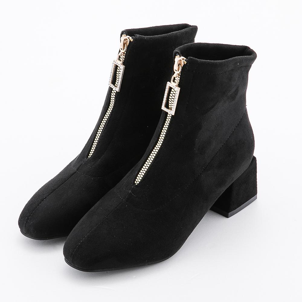 River&Moon歐美帥氣細絨方頭晶鑽前拉鍊短靴 黑