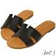 Ann'S水洗牛皮-復古真皮擦色鏤空平底涼鞋-黑 product thumbnail 1