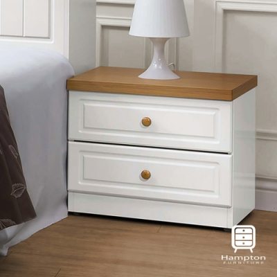 漢妮Hampton簡約鄉村風純白床頭櫃-52x40x45.5cm