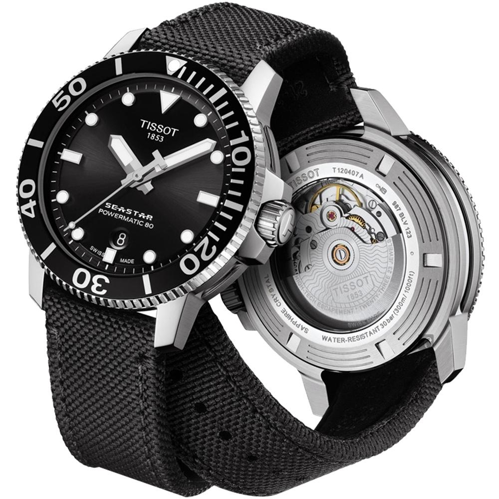TISSOT 天梭 Seastar 海洋之星陶瓷潛水80小時機械錶-黑/43mm
