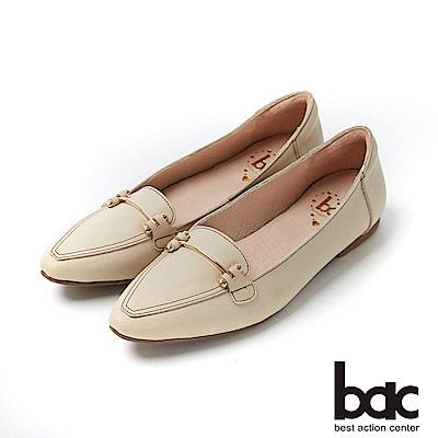 bac愛趣首爾 - 簡約尖頭不對襯車鋒線平底包鞋-白色