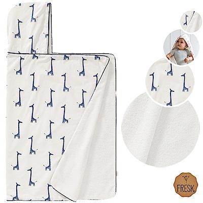 荷蘭 FRESK 有機棉嬰兒浴巾/保暖毯 (藍色長頸鹿)