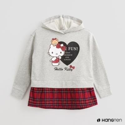 Hang Ten -童裝 - Sanrio-格紋下擺拼接長袖上衣 - 灰