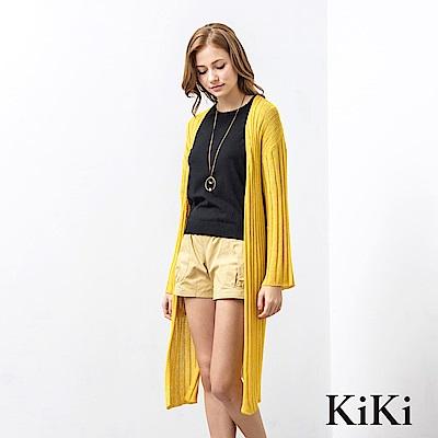 KiKi INLook 透膚開衩落肩針織長版罩衫(黃色)
