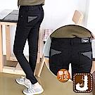 正韓 點點素黑顯瘦磨毛管褲-(黑色)100%Korea Jeans
