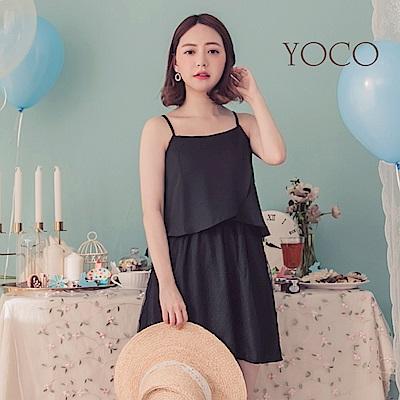 東京著衣-YOCO  優雅知性拼接網紗細肩帶小洋裝-XS