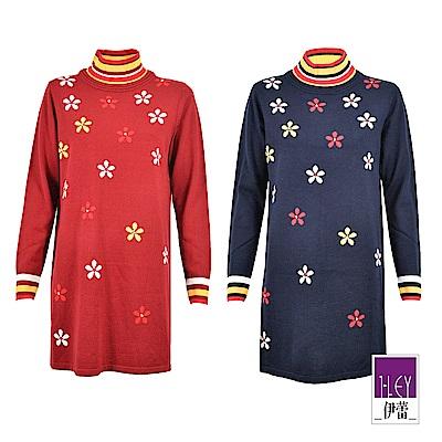 ILEY伊蕾 花朵緹花層次高領針織毛衣(藍/紅)