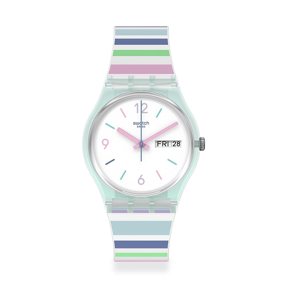Swatch 原創系列手錶 PASTEL ZEBRA 彩色甜心-34mm