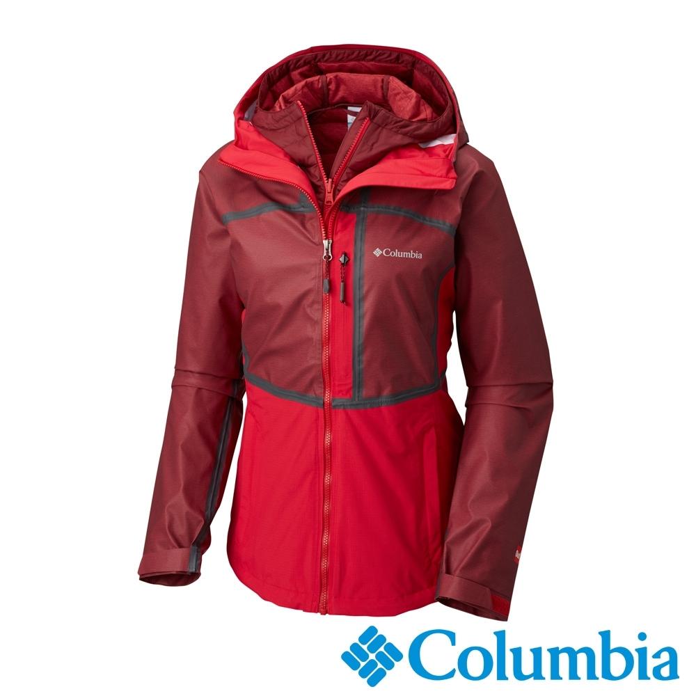 Columbia 哥倫比亞 女款- Outdry 防水拼接兩件化纖外套-紅色  UWK70300RD