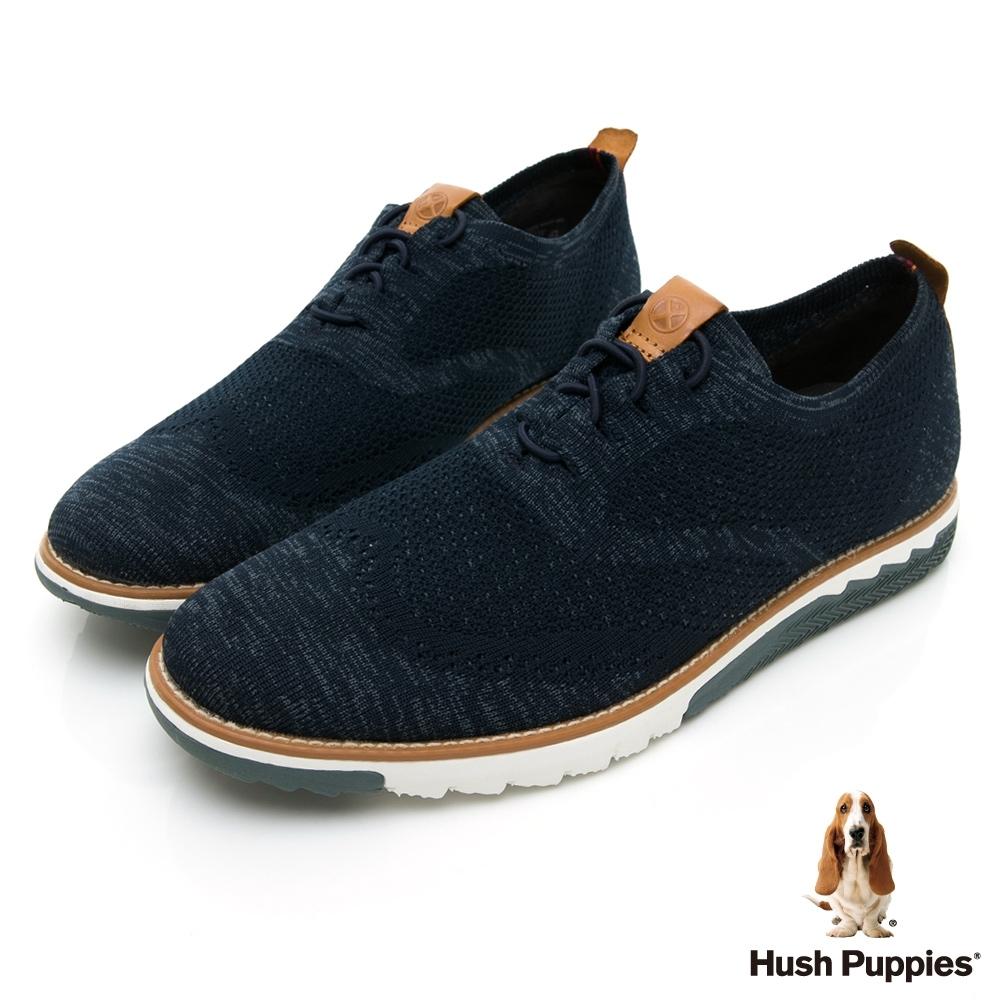 Hush Puppies Expert 針織綁帶男休閒鞋-深藍色