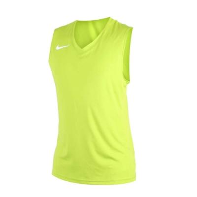 NIKE 男運動背心-針織 籃球背心 慢跑 路跑 綠白
