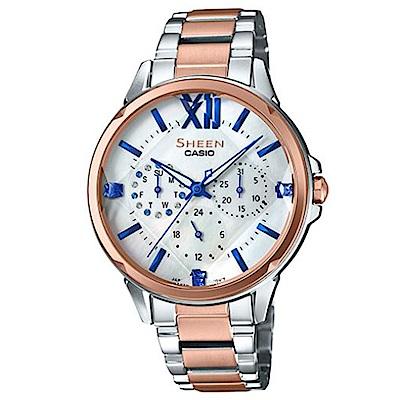 SHEEN優雅風格女神魅力羅馬時刻腕錶(SHE-3056SPG-7)蜜桃金X藍針37mm