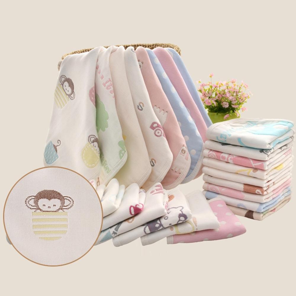 colorland【10入】高密度六層紗小方巾卡通口水巾