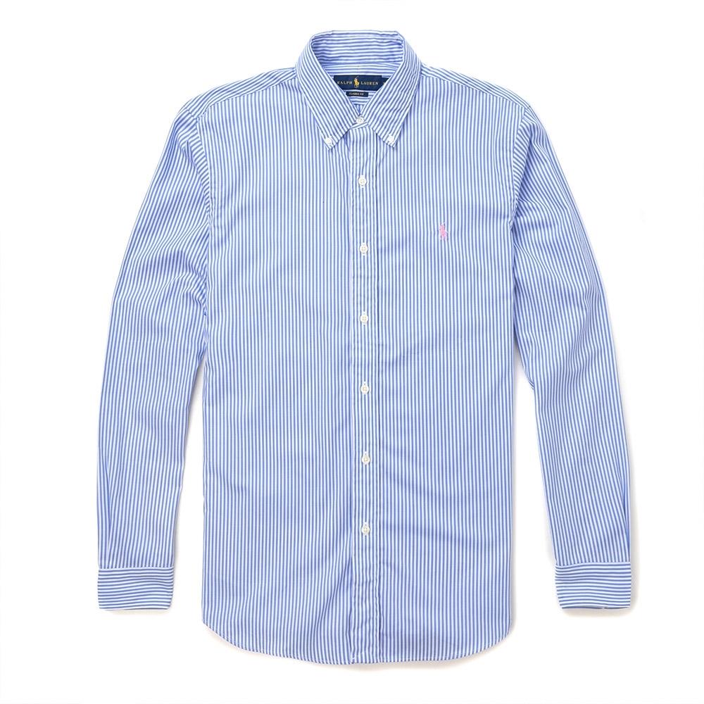 Polo Ralph Lauren 經典刺繡小馬條紋長袖襯衫-藍白色