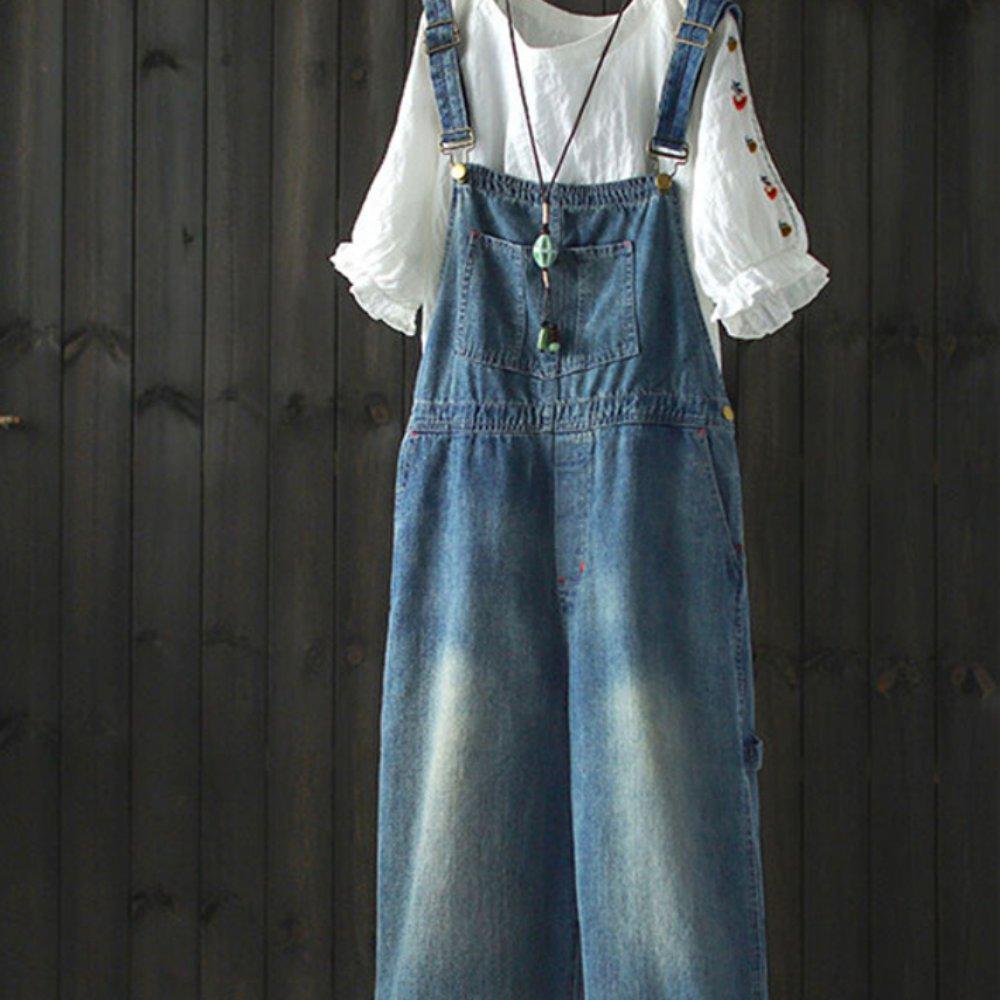 水洗做舊牛仔背頻寬管褲連身長褲-設計所在