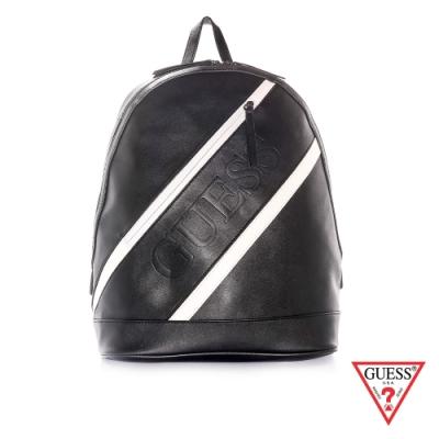 GUESS-男包-黑白斜紋皮革後背包-黑