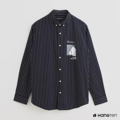 Hang Ten - 男裝 - 配色條紋潮流印花襯衫 - 藍