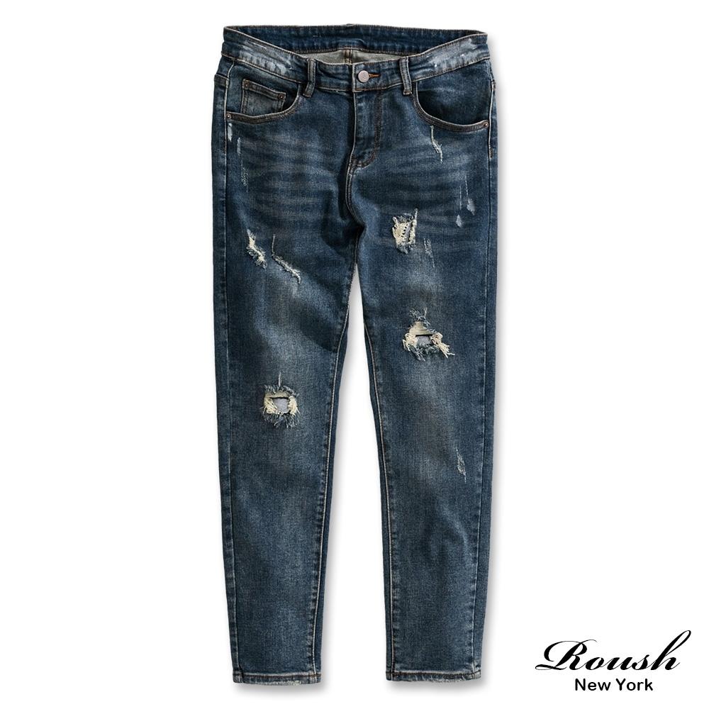 Roush 高磅數雙膝破壞刷痕牛仔褲