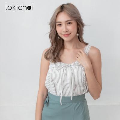 東京著衣 清甜可愛直條紋可調式小可愛/上衣-S.M