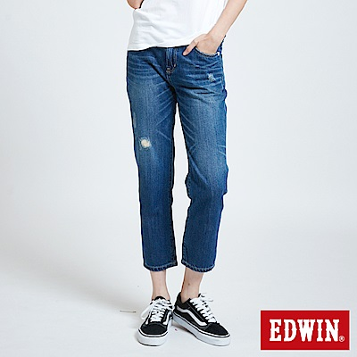 EDWIN MISS 503微破加工AB牛仔褲-女-中古藍