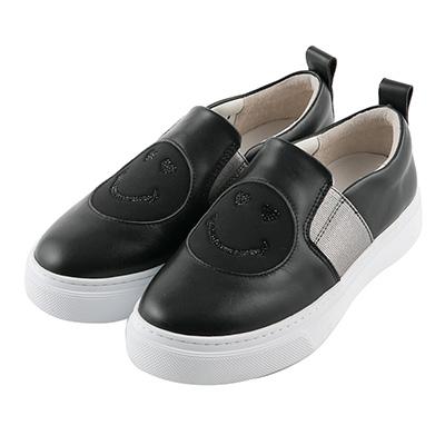 BESO 愛戀笑臉 異材質拼接鬆緊帶懶人鞋~黑